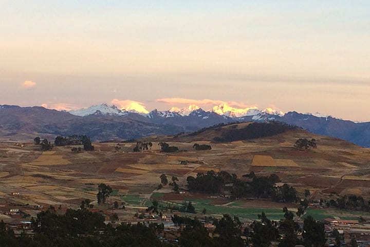 andean mountain range from from sacred valley of the incas