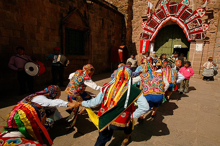 dance outside the cathedral of cusco